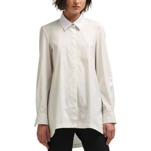 DKNY Top Blouse Poplin Button Front Casual Sz S